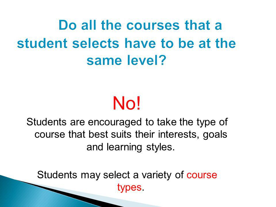 No! Students are encouraged to take the type of course that best suits their interests, goals and learning styles. Students may select a variety of co