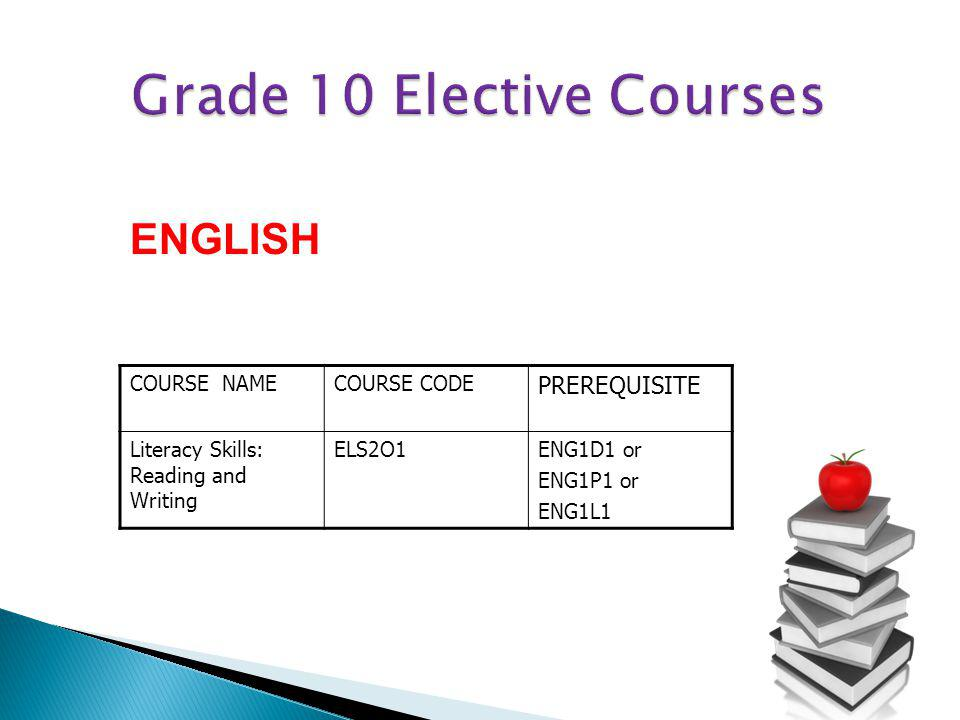 COURSE NAMECOURSE CODE PREREQUISITE Literacy Skills: Reading and Writing ELS2O1ENG1D1 or ENG1P1 or ENG1L1 ENGLISH