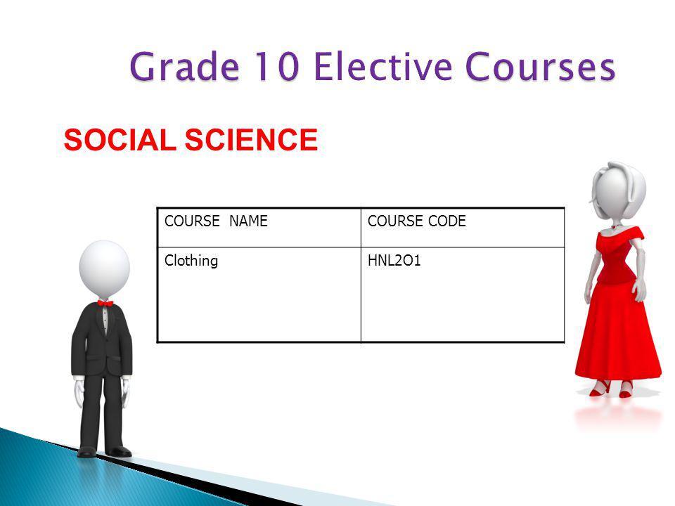 COURSE NAMECOURSE CODE ClothingHNL2O1 SOCIAL SCIENCE
