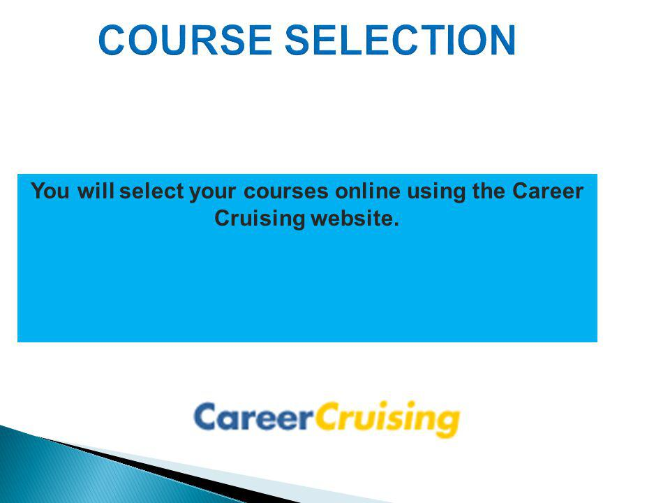 You will select your courses online using the Career Cruising website.