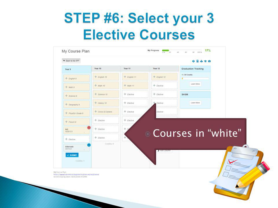 Courses in white