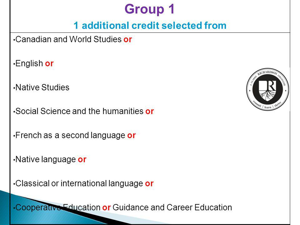 Group 1 1 additional credit selected from Canadian and World Studies or English or Native Studies Social Science and the humanities or French as a second language or Native language or Classical or international language or Cooperative Education or Guidance and Career Education