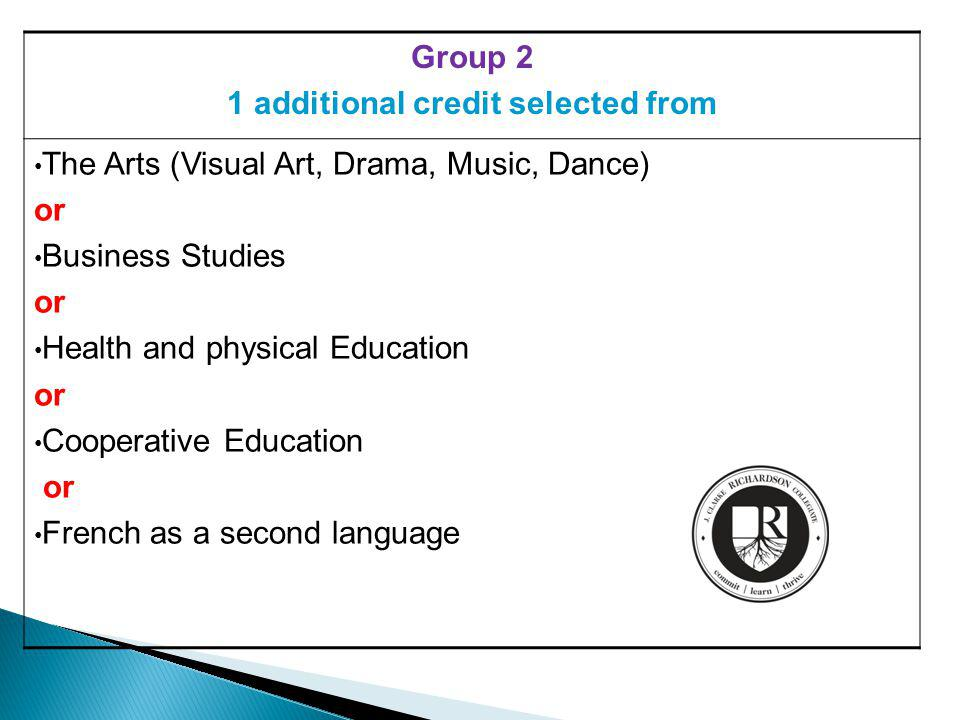 Group 2 1 additional credit selected from The Arts (Visual Art, Drama, Music, Dance) or Business Studies or Health and physical Education or Cooperative Education or French as a second language