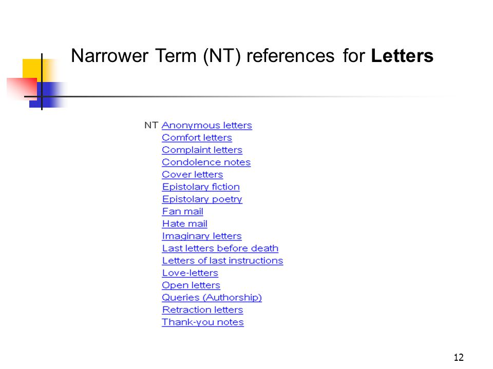 Narrower Term (NT) Biographical sources NT Letters Literature NT Letters 11