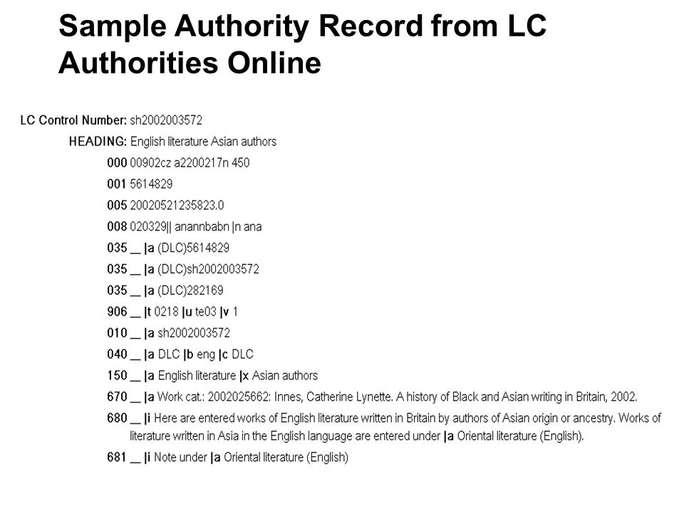 Sample Authority Record from OCLC