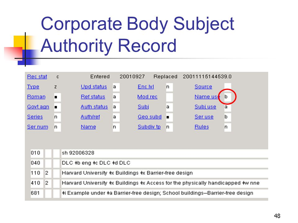 Personal Name Subject Authority Record 47