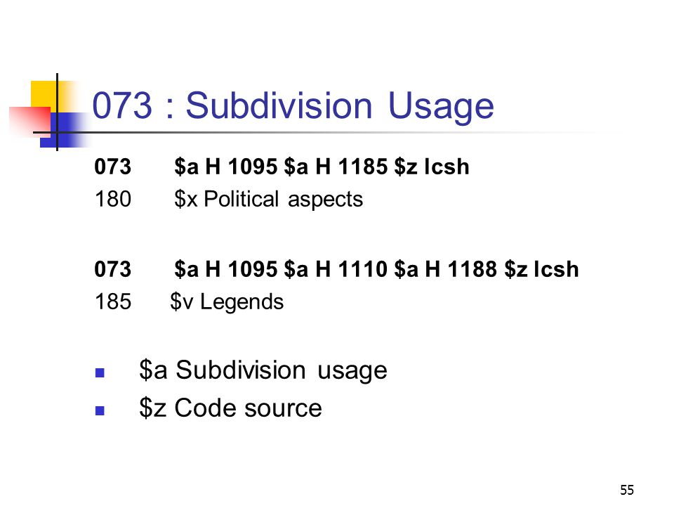 18X : Subfields $v - Form subdivision $x - General subdivision $y - Chronological subdivision $z - Geographic subdivision 54