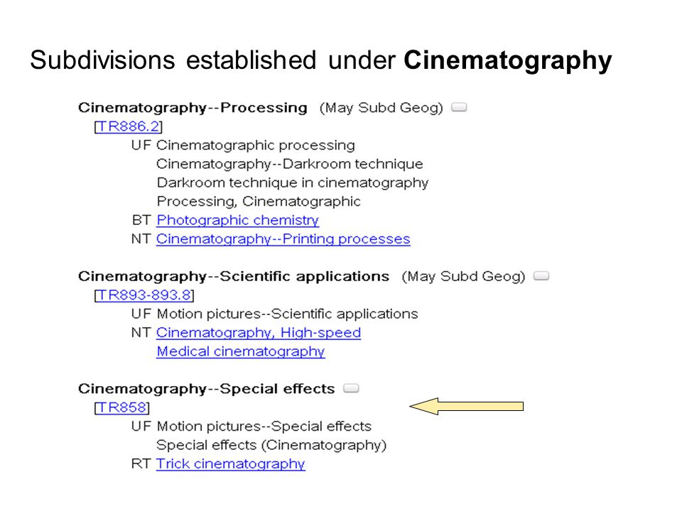 Application of established subdivisions Example: cataloging the title Film magic, which describes the art and science of special effects Main heading: Cinematography Search the heading in LCSH or subject authority file to find established subdivisions 7