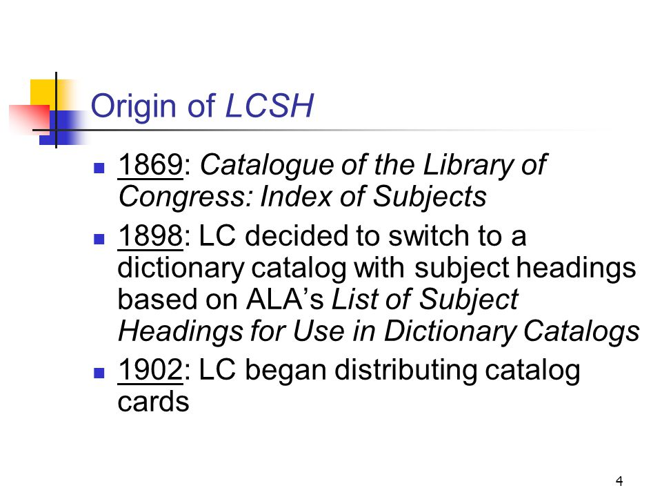 History of LCSH Library of Congress Subject Headings (LCSH) is an accumulation of the subject headings that have been established at the Library of Congress since 1898 and used in its cataloging.