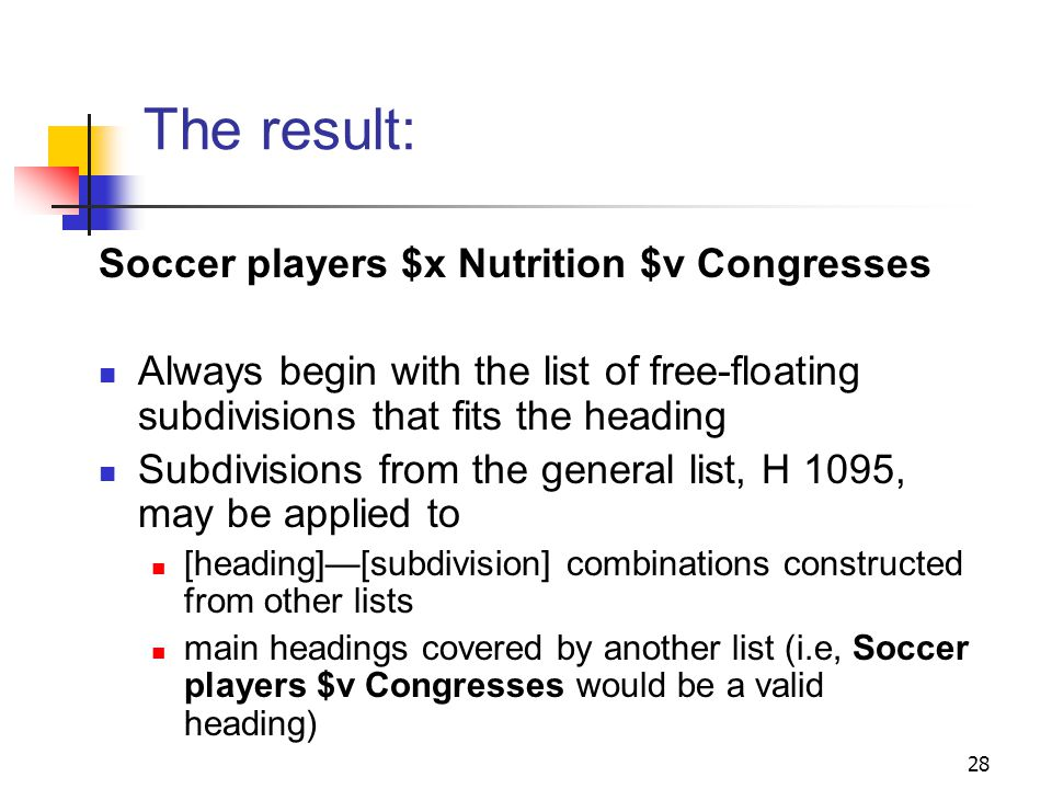 Example (cont.) Finally, consider the heading string weve constructed: Soccer players $x Nutrition Do other aspects of the topic or form need to be brought out.