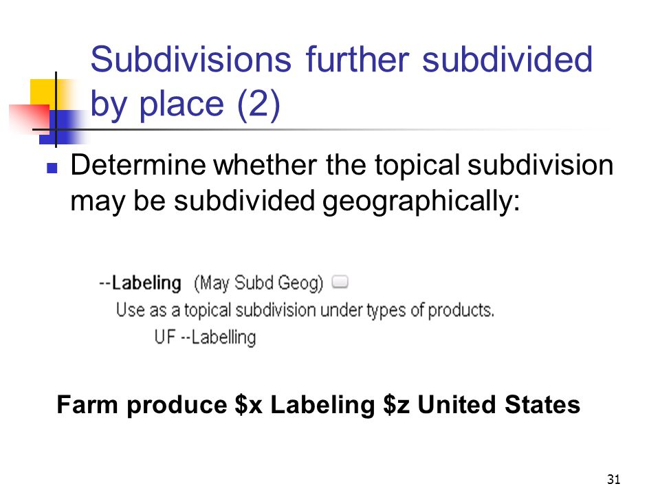 Subdivisions further subdivided by place: H 860, H 870 When a subject heading includes a topical subdivision, where is the geographic subdivision placed.