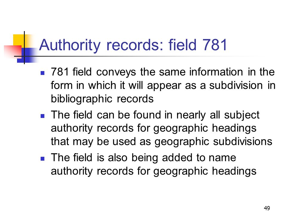 Authority records: field 667 Prior to February 1999, field 667 had been used in name authority records when subdivision practice fell outside of the scope of standard rules: 151 $a Sabah 667 $a SUBJECT USAGE: As a geographic subdivision, this heading is used indirectly through Malaysia.