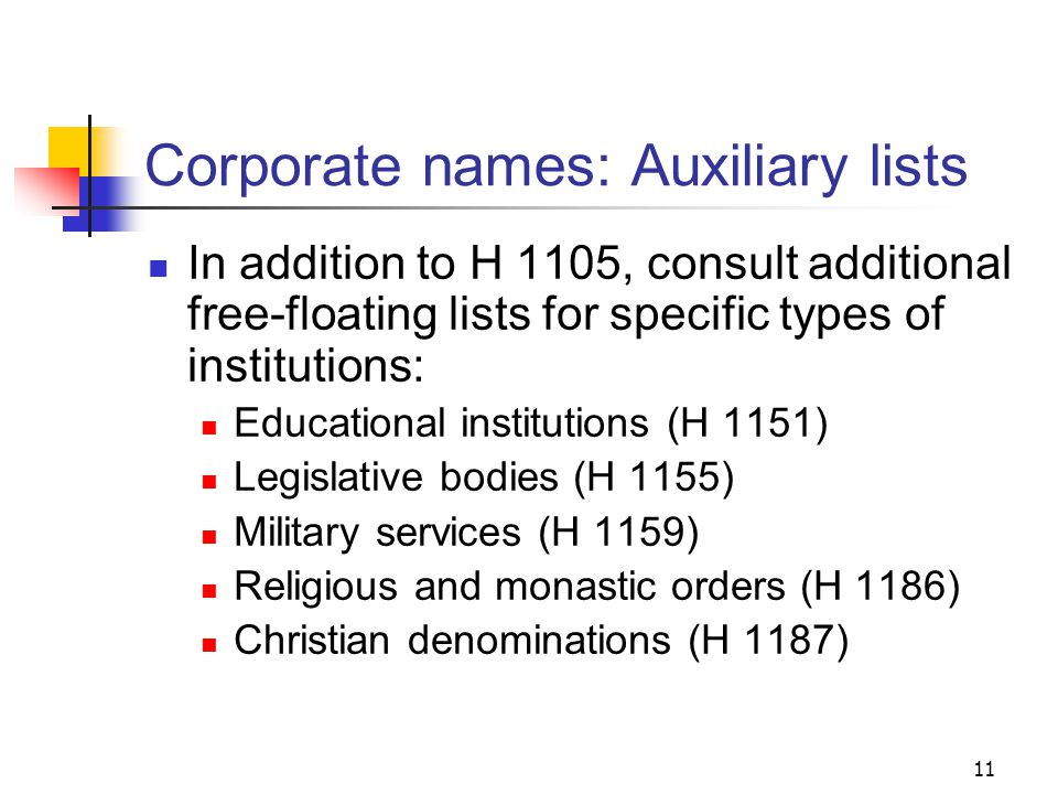 Corporate names Subdivisions for topics unique to certain corporate names are found in LCSH Great Britain.