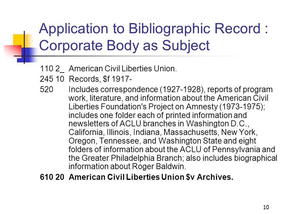 Corporate Body Authority Record 9