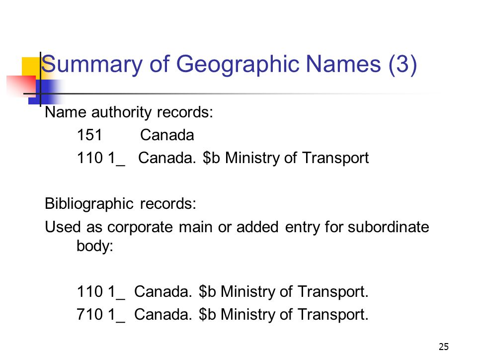 Summary of Geographic Names (2) Name authority record: 151Canada Bibliographic records: Used as subject heading alone, or with topical or form subdivisions: 651 _0Canada.