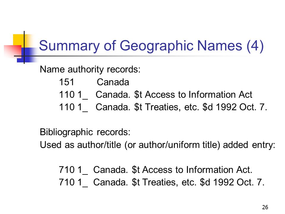 Summary of Geographic Names (3) Name authority records: 151Canada 110 1_ Canada.