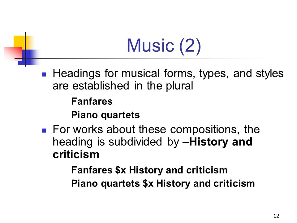 Music H 1916.3 Music: General provides a general overview of assignment of subject headings for all materials in the field of music includes list of additional instruction sheets for specific kinds of materials and types of music 11