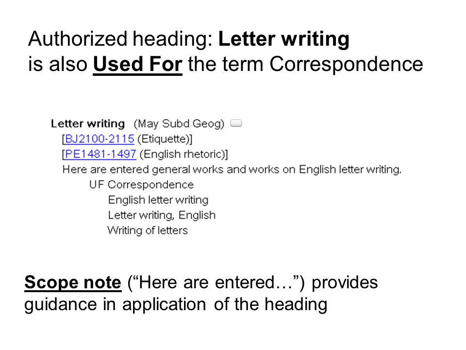 USE and UF (Used For) Correspondence USE Letters Letters UF Correspondence 8