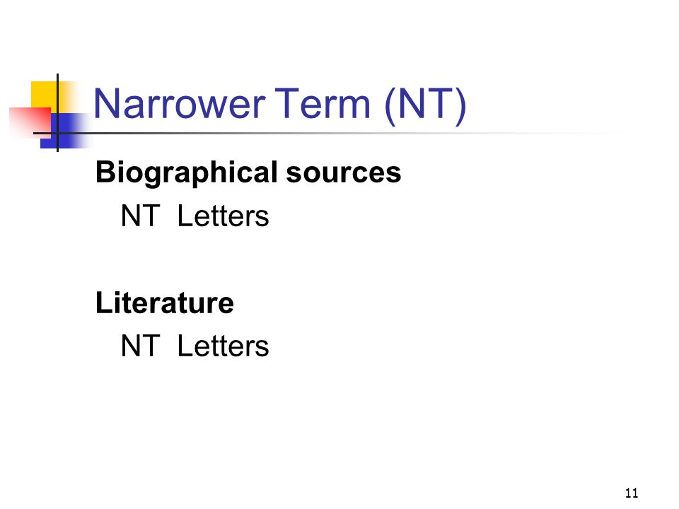 Broader Terms (BT) for Letters: Biographical sources and Literature