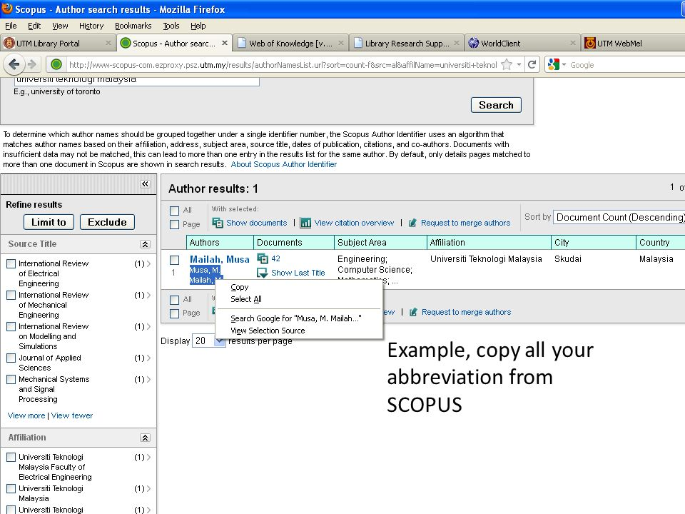 Example, copy all your abbreviation from SCOPUS
