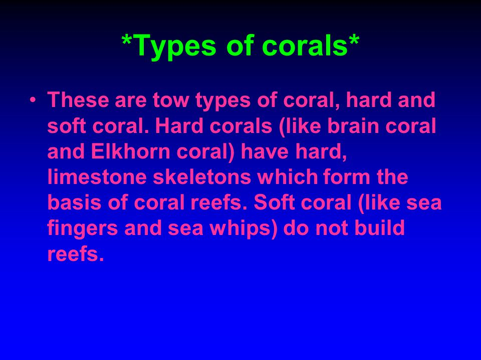 *Types of corals* These are tow types of coral, hard and soft coral. Hard corals (like brain coral and Elkhorn coral) have hard, limestone skeletons w
