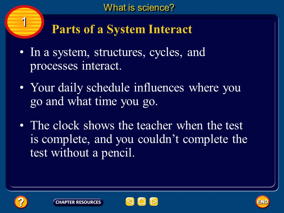 Systems in Science Your school day also has cycles. 1 1 What is science? Your daily class schedule and the calendar of holidays are examples of cycles