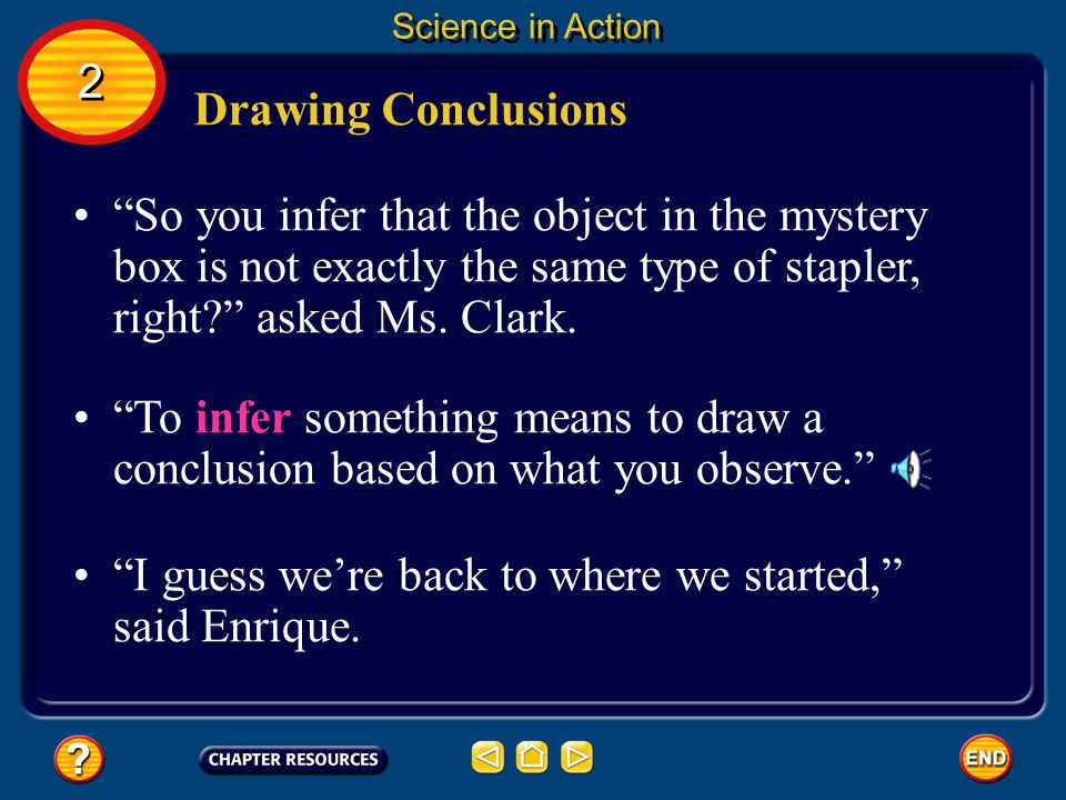 Drawing Conclusions The first thing that we learned was that our hypothesis wasnt correct, said Marcus. 2 2 Science in Action The boxes dont weigh the