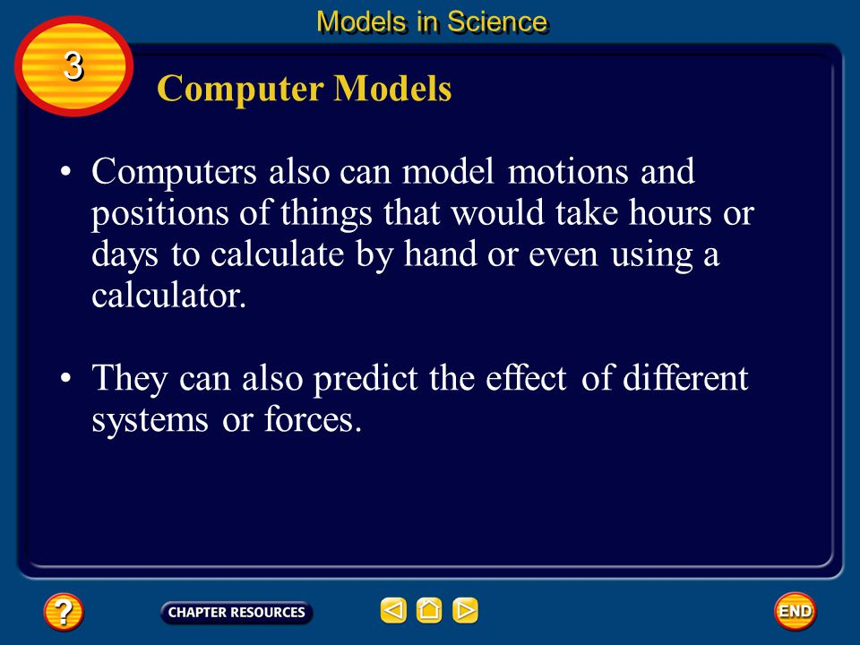 3 3 Models in Science Computer Models Some computer models can model events that take a long time or take place too quickly to see.