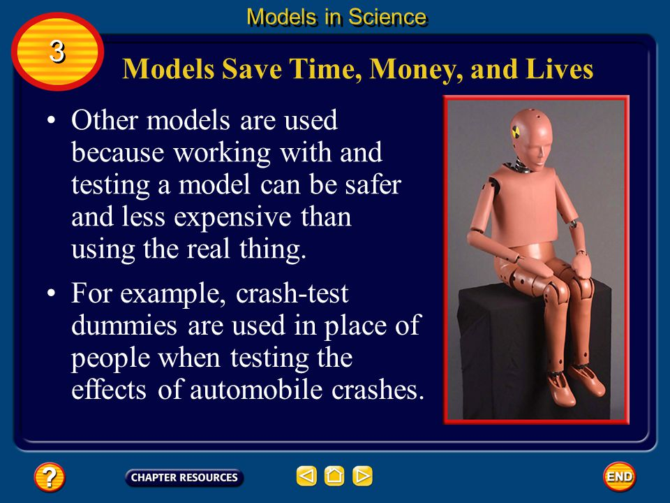 Some models are used to test predictions. 3 3 Models in Science Models Test Predictions Automobile and airplane engineers use wind tunnels to test pre