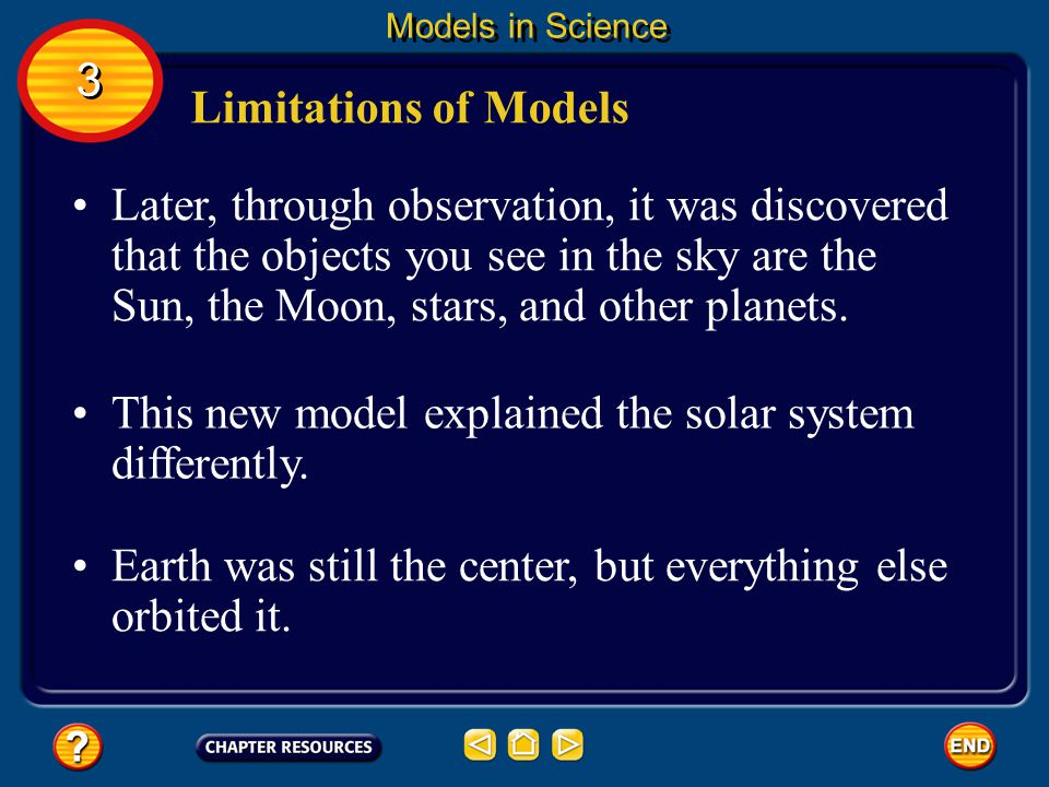 The solar system is too large to be viewed all at once, so models are made to understand it. 3 3 Models in Science Limitations of Models Many years ag