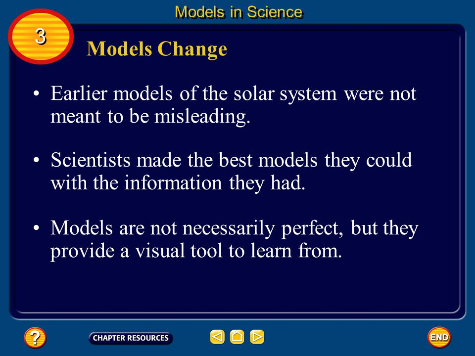 Still later, through more observation, it was discovered that the Sun is the center of the solar system. 3 3 Models in Science Models Change In additi