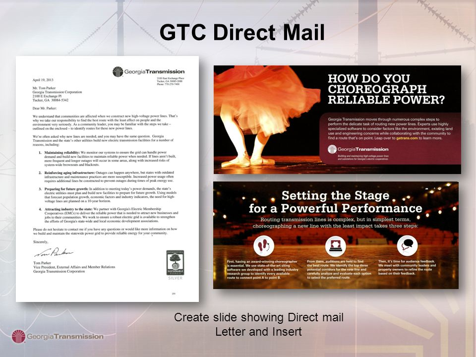 GTC Direct Mail Create slide showing Direct mail Letter and Insert