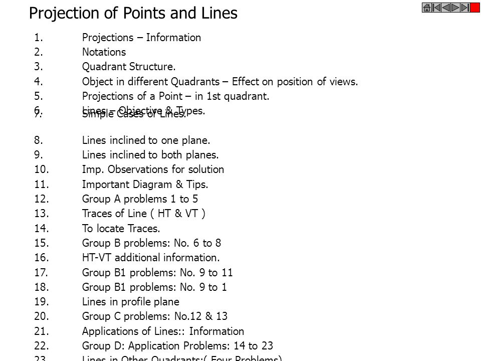Projection of Points and Lines 1.Projections – Information 2.Notations 3.Quadrant Structure. 5.Projections of a Point – in 1st quadrant. 6.Lines – Obj