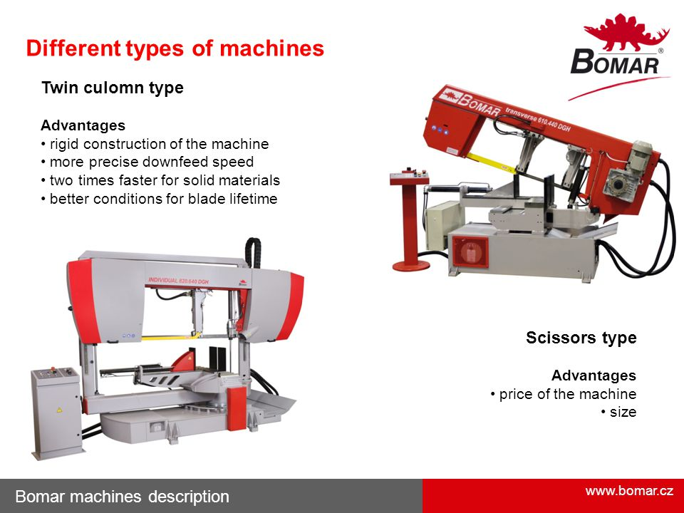 www.bomar.cz Bomar machines description Scissors type Advantages price of the machine size Different types of machines Twin culomn type Advantages rigid construction of the machine more precise downfeed speed two times faster for solid materials better conditions for blade lifetime