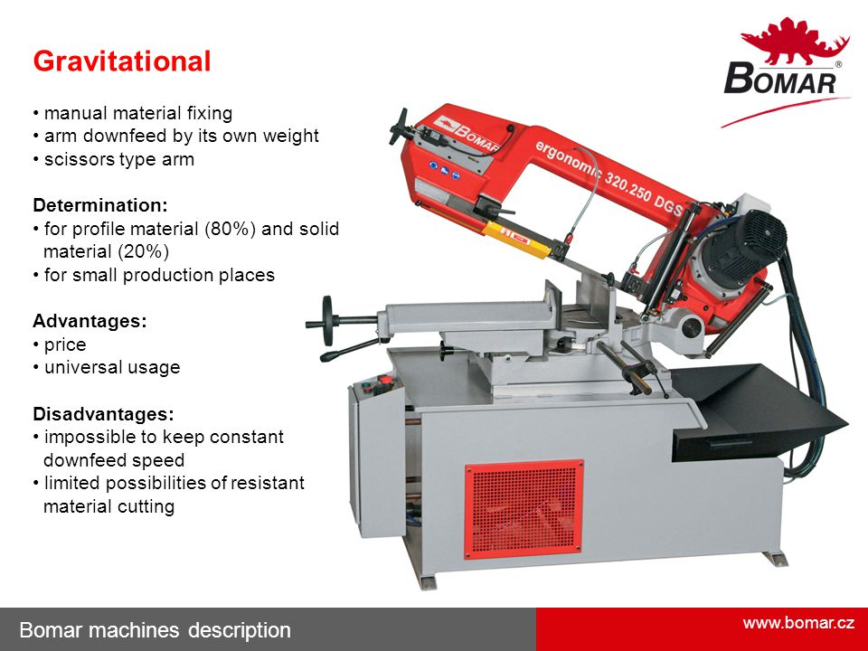 www.bomar.cz Bomar machines description Gravitational manual material fixing arm downfeed by its own weight scissors type arm Determination: for profi