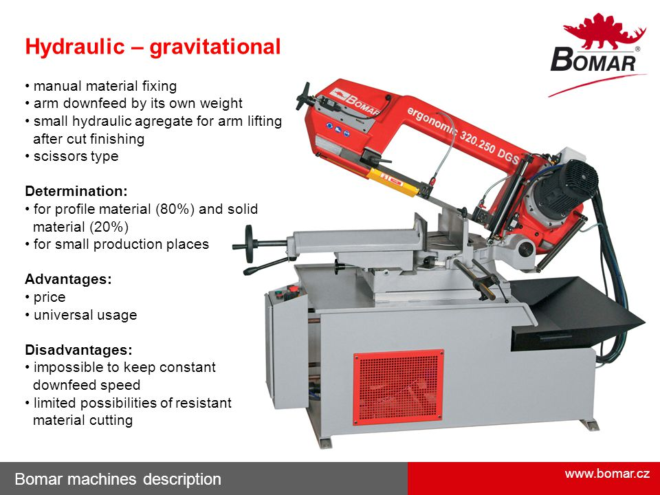 www.bomar.cz Bomar machines description Hydraulic – gravitational manual material fixing arm downfeed by its own weight small hydraulic agregate for a