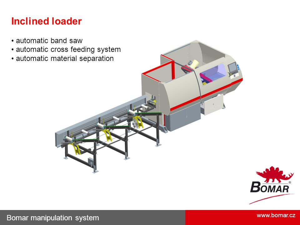 www.bomar.cz Bomar manipulation system Inclined loader automatic band saw automatic cross feeding system automatic material separation