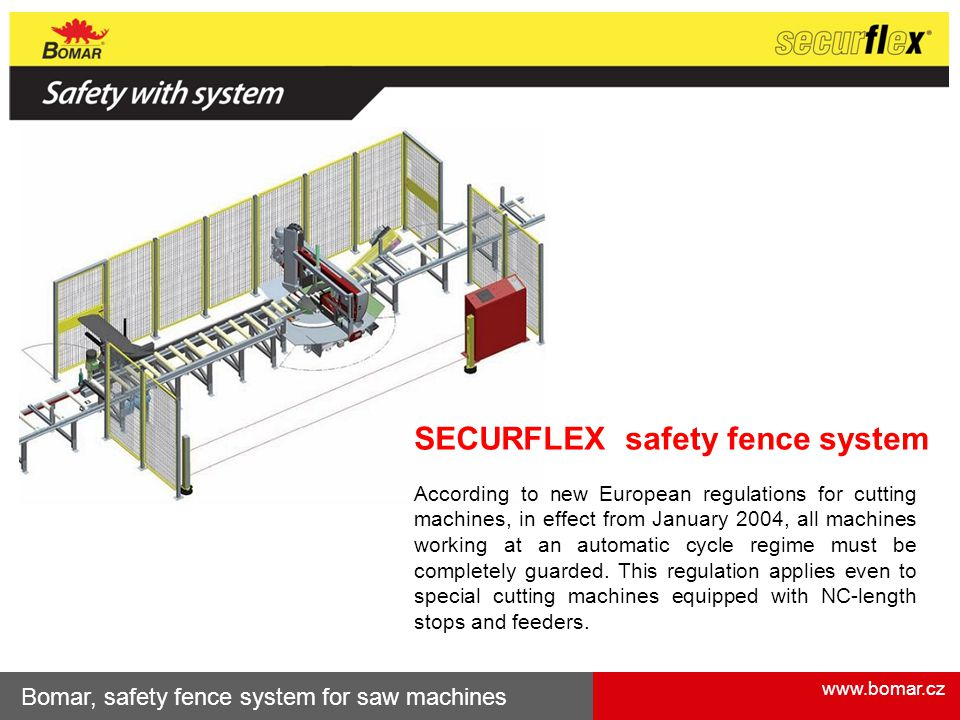 www.bomar.cz Bomar, safety fence system for saw machines SECURFLEX safety fence system According to new European regulations for cutting machines, in