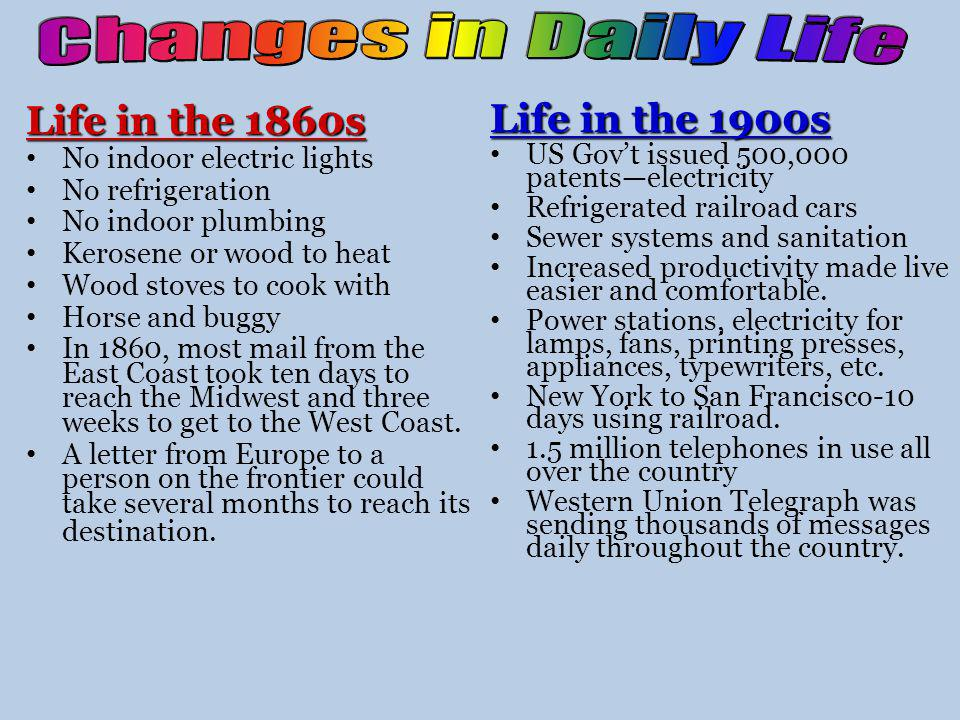 Life in the 1860s No indoor electric lights No refrigeration No indoor plumbing Kerosene or wood to heat Wood stoves to cook with Horse and buggy In 1860, most mail from the East Coast took ten days to reach the Midwest and three weeks to get to the West Coast.