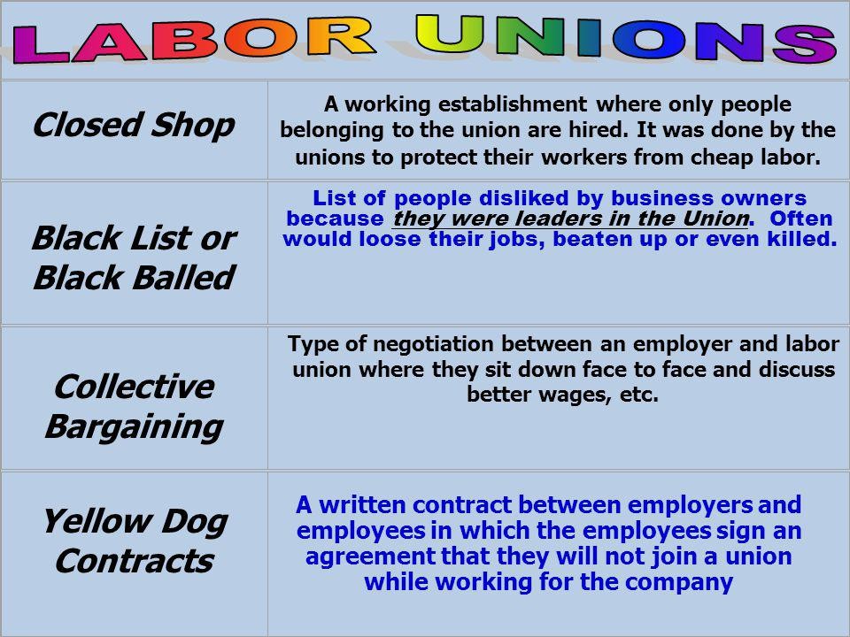 A working establishment where only people belonging to the union are hired.
