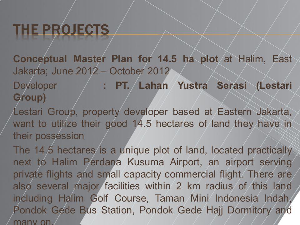 Conceptual Master Plan for 14.5 ha plot at Halim, East Jakarta; June 2012 – October 2012 Developer: PT. Lahan Yustra Serasi (Lestari Group) Lestari Gr