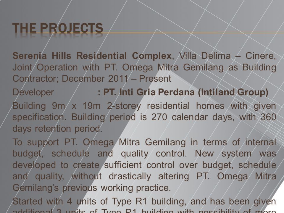 Serenia Hills Residential Complex, Villa Delima – Cinere, Joint Operation with PT.