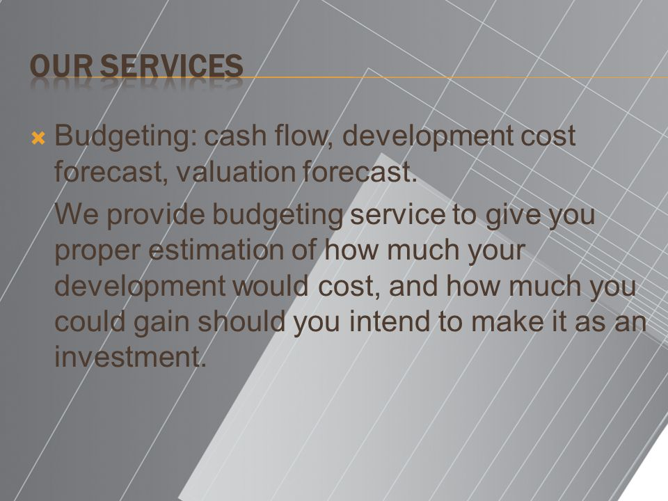 Budgeting: cash flow, development cost forecast, valuation forecast.