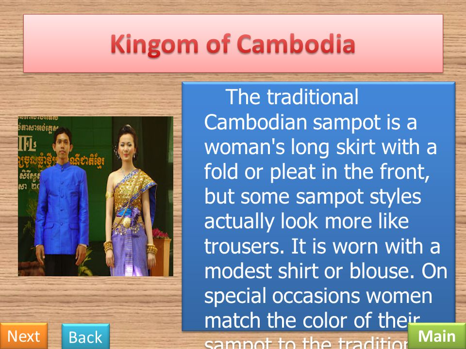 The women's national costume is named the Chakri. It is made up of Thai silk. The dress includes a back-less and shoulder-less shirt, a ready-to-wear