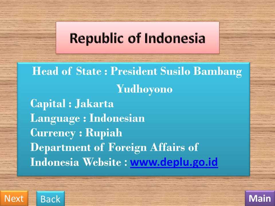Head of State : President Susilo Bambang Yudhoyono Capital : Jakarta Language : Indonesian Currency : Rupiah Department of Foreign Affairs of Indonesia Website : www.deplu.go.id www.deplu.go.id Head of State : President Susilo Bambang Yudhoyono Capital : Jakarta Language : Indonesian Currency : Rupiah Department of Foreign Affairs of Indonesia Website : www.deplu.go.id www.deplu.go.id Main Next Back