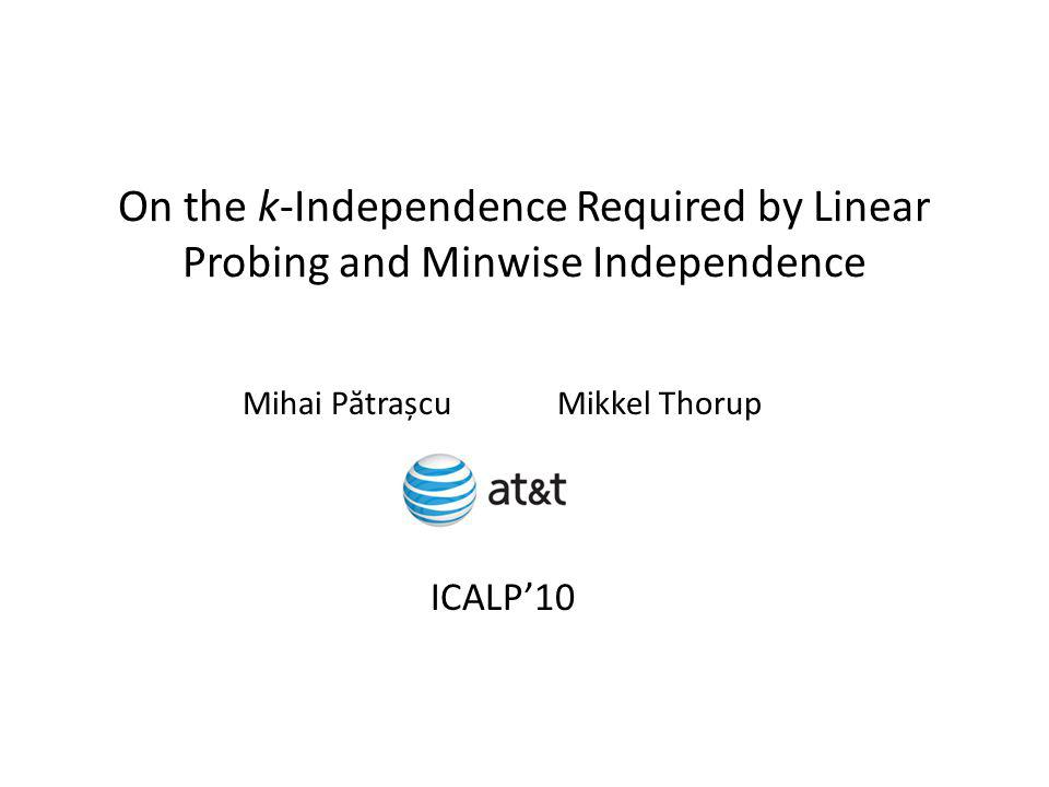 On the k-Independence Required by Linear Probing and Minwise Independence Mihai P ă trașcuMikkel Thorup ICALP10