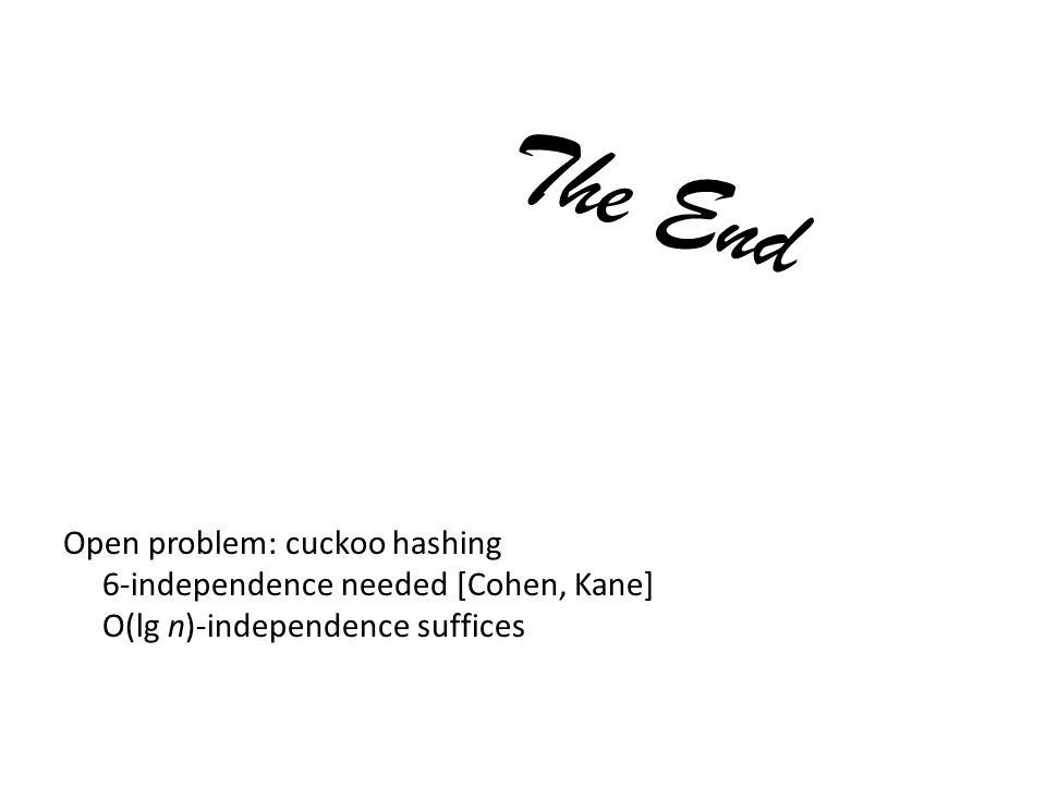 The End Open problem: cuckoo hashing 6-independence needed [Cohen, Kane] O(lg n)-independence suffices
