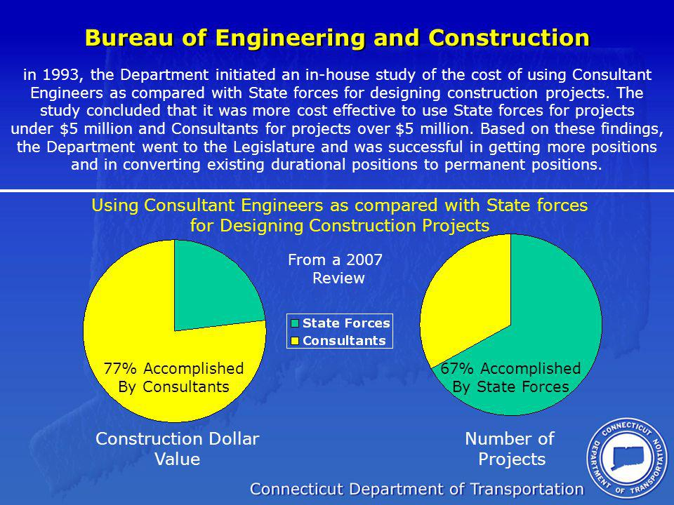 Bureau of Engineering and Construction in 1993, the Department initiated an in-house study of the cost of using Consultant Engineers as compared with