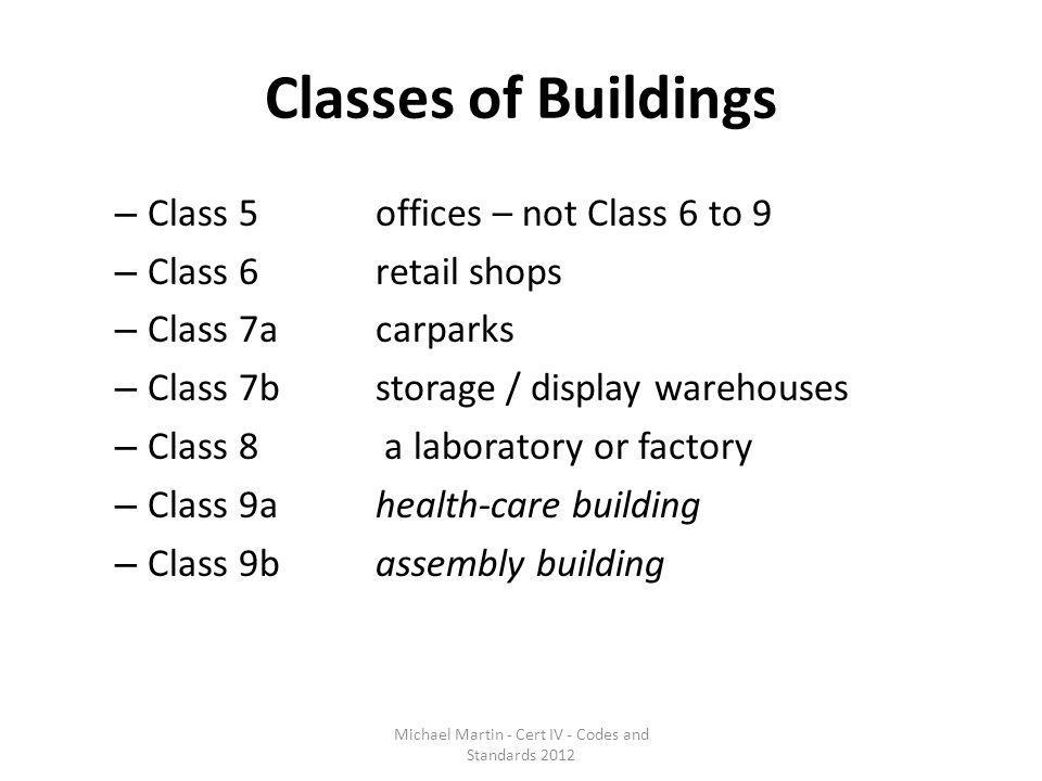 Classes of Buildings – Class 5 offices – not Class 6 to 9 – Class 6 retail shops – Class 7a carparks – Class 7b storage / display warehouses – Class 8