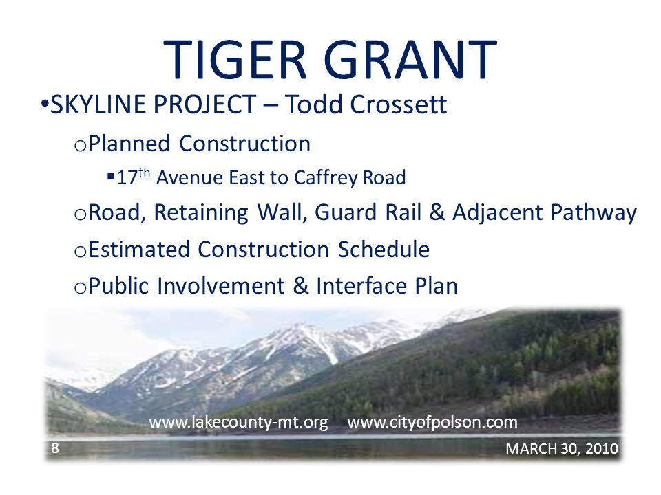 TIGER GRANT SKYLINE PROJECT – Cont.